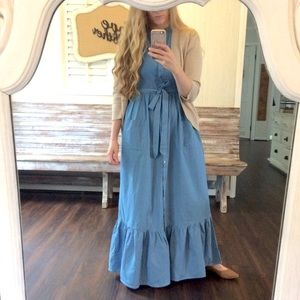 Dresses - Denim Ruffle Hem Dress w sash cap sleeves